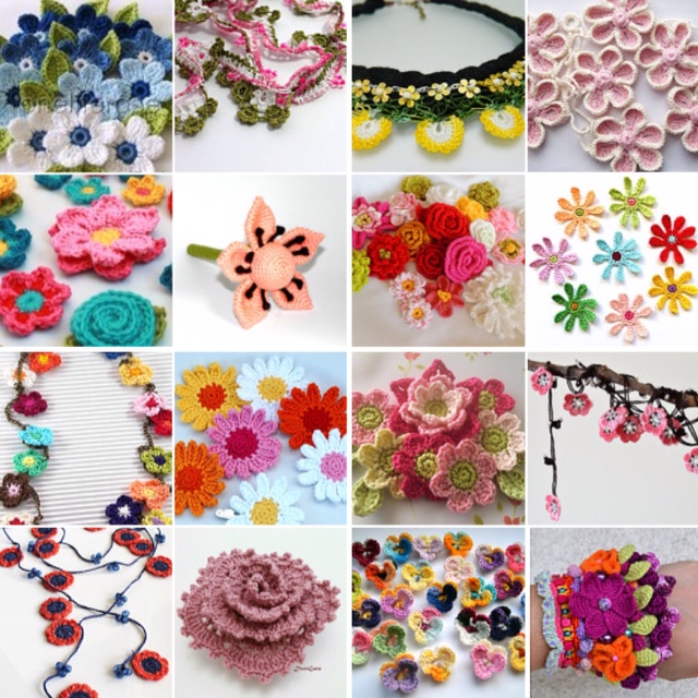 maRRose - CCC --- Treasury Tuesday, Crocheted Flowers-collage