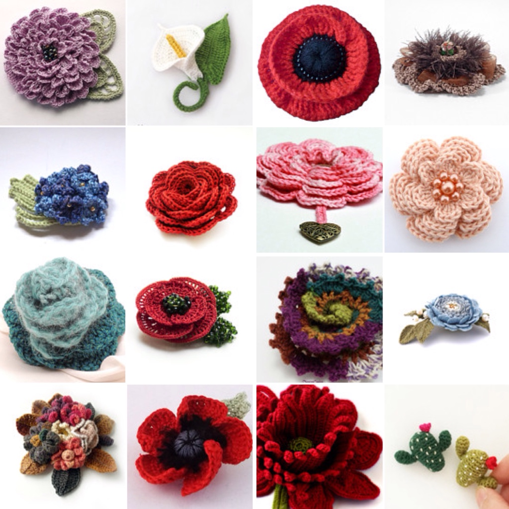 maRRose - CCC --- Treasury Tuesday, Crochet Flower Brooches-03