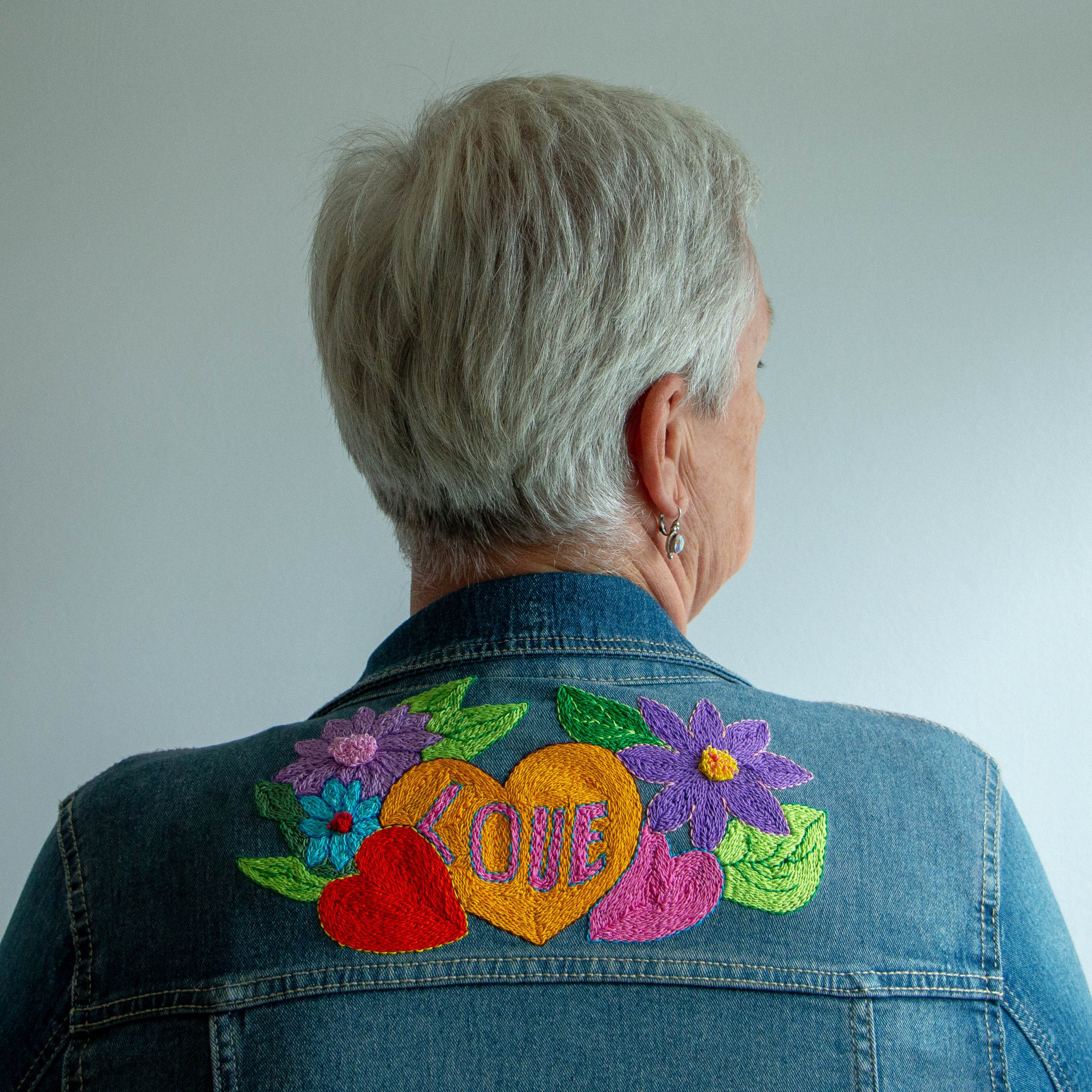 Punchneedle patch on jeans jacket