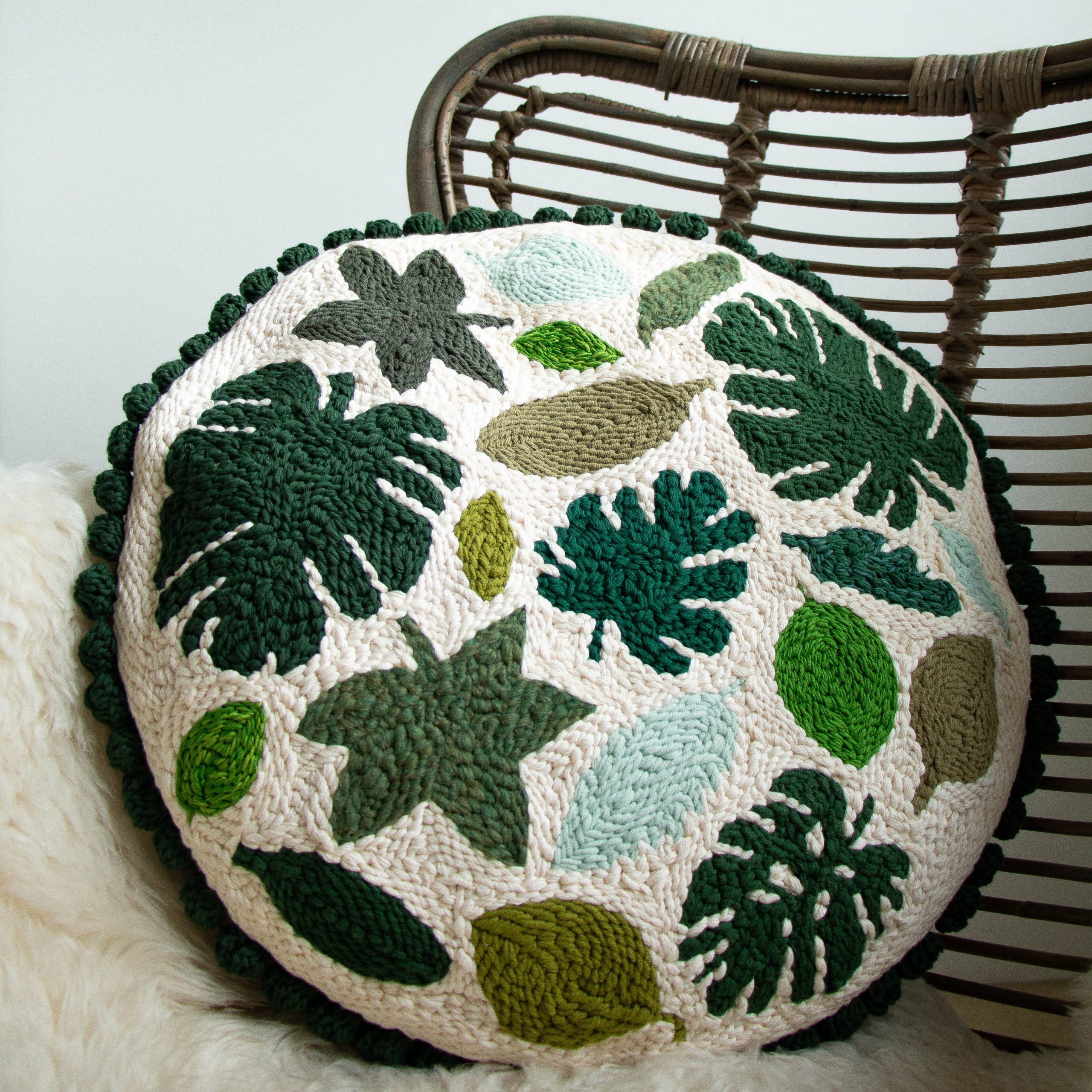 Leaves Punch Needle Cushion
